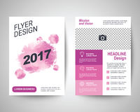 2017 pink flyer a4 template. 2017 pink abstract flyer layout template, brochure background, leaflet with cover, vector design in a4 size for business annual Royalty Free Stock Photo