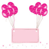 Pink flying balloon place for text with confetti wallpaper Stock Image