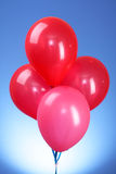 Pink flying balloons. On a blue background Stock Photography