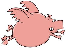 Pink flying pig Royalty Free Stock Photos
