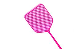 Pink flyswatter from plastic isolated on a white background, cop royalty free stock photos