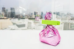 Pink foil dried tea leaves bag with plastic food sealer Stock Photos