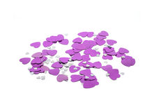 Pink foil heart confetti Stock Images