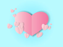 Pink folded paper heart. S with shadow on blue background, Valentines Day concept vector border Stock Images