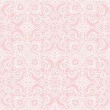 Pink folk pattern. Hand-drawn folk seamless pattern in baby-pink color vector illustration