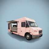 Pink food truck. Pink fast food truck on light blue background, template with copy space, clipping path stock images