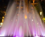Pink fountain. Beautiful pink fountain, night photography, long exposure, Belgrade Serbia Stock Photo