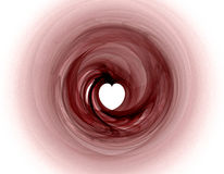 Pink Fractal with Heart. Pink spiral fractal goes from pale to darker pink with a cut out heart in center Stock Image