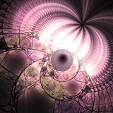 Pink fractal stained glass. Digital artwork for creative graphic design Stock Photos
