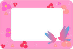 Pink frame. With flowers and doves Stock Photo