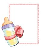 Pink frame with baby bottle Stock Photos