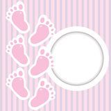 Pink frame with baby steps Royalty Free Stock Photos