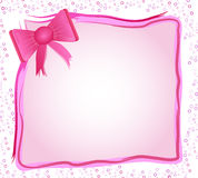 Pink frame with bow. A beautiful pink picture frame with a bow vector illustration