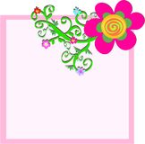 Pink Frame Box with Flower and Vines Stock Image
