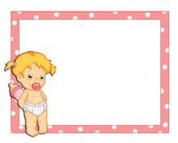 Pink frame with child female royalty free illustration