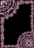 Pink frame with curles on black Stock Photography