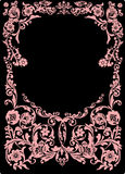Pink frame with curles on black Royalty Free Stock Photography