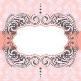 Pink frame design. With green pattern Royalty Free Stock Images