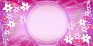 Pink frame with flowers Stock Photography
