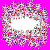 Pink frame with futuristic flowers Royalty Free Stock Photos