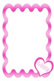 Pink Frame With Heart. Pink Wavy Frame With Heart Illustration royalty free illustration
