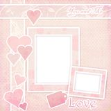 Pink frame with hearts Royalty Free Stock Image