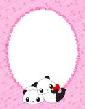Pink frame with hearts and pandas Stock Images