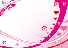 Pink frame with hearts, stars, circles. And spirals for st. valentine day Stock Photography