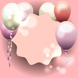 Pink frame for invitation, birthday card with balloons.  Royalty Free Stock Photo