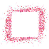 Pink Frame from pink confetti. Romantic background with text place. Pink Frame from pink confetti. Romantic background with text place vector illustration
