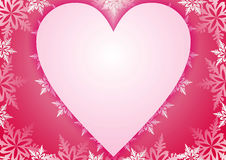 Pink frame or postcard. Vector frame or postcard with heart and snowflakes Stock Photos