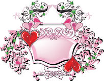 Pink frame and red hearts on white Stock Image