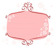Pink-frame-with-roses Stock Photos