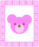 Pink Frame with Teddy Bear Royalty Free Stock Photos