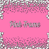 Pink frame with white stars Stock Photo