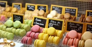 Many colors french macaroon in a stand beautiful and tasty cookie baked macaroon biscuit of assorted colors and different taste Royalty Free Stock Photography