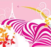 Pink French travel poster Royalty Free Stock Images