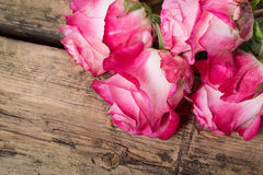Pink fresh roses on wood Stock Photo