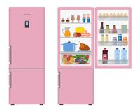 Pink fridge with open doors, a full of food Royalty Free Stock Images