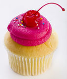 Pink frosted cupcake Stock Images
