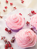 Pink Frosted Cupcakes Stock Photo