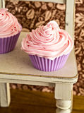 Pink Frosted Cupcakes Stock Photography