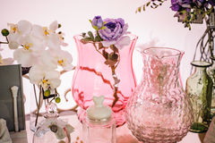 Pink Frosted Glass Vases home decor Royalty Free Stock Photography