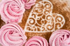 Pink fruit marshmallow for Valentine Day as background. Pink fruit marshmallow for Valentine Day as background stock photos