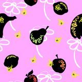 Pink Fruit Pattern. Black fruit, white flowers and bees on a pink backround Royalty Free Stock Photography
