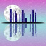 Pink full moon night, cityscape illustration with lighting buildings on island Stock Photography