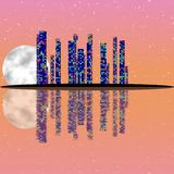 Pink full moon night, cityscape illustration with lighting buildings on island Stock Photos