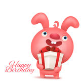 Pink funny emoji bunny with gift box. Happy birthday invitation card Royalty Free Stock Photo