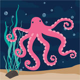 Pink funny octopus Royalty Free Stock Photo