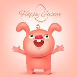 Pink funny rabbit character. Happy easter invitation card Royalty Free Stock Image